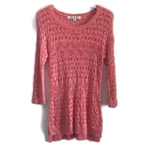 Pink Republic Coral Pink Sweater Open Knit Crochet